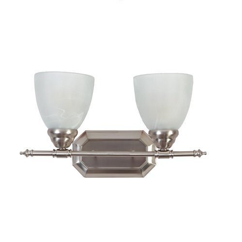 Y Decor L322BN Modern, Transitional, Traditional 2 Light Bathroom Vanity Fixture Brushed Nickel with White Glass By , Brushed Nickel, Silver (Is Glass Alabaster What)