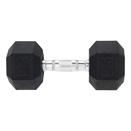 DPFIT 25 lb Dumbbell, Single Rubber Hex Dumbbell Weighs 25 Pound, with Ergonomic Curved Metal Non-Slip Dumbbell Bar…