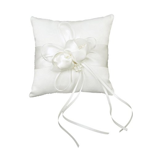 - Tinksky 15*15cm Lovely Flower Buds Faux Pearls Decor Bridal Wedding Ceramony Pocket Ring Pillow Cushion Bearer with Ribbons (White)