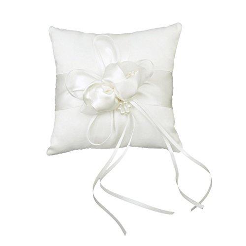 Tinksky 15*15cm Lovely Flower Buds Faux Pearls Decor Bridal Wedding Ceramony Pocket Ring Pillow Cushion Bearer with Ribbons (White) - Make Ring Bearer Pillow