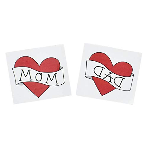kitt Love Dad and Mom Sticker Pack 12 PCS, Child Baby Kids Photography Prop Letter Red Heart Fake Tattoo Sticker Fake Tattoos, Waterproof and Sweatproof