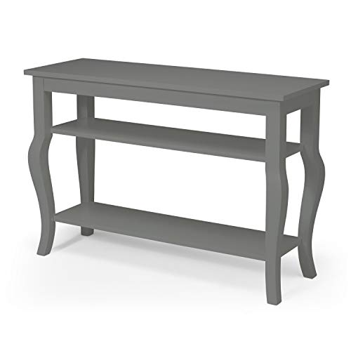 Kate and Laurel Lillian Wood Console Table with Display Shelves – Cabriole Legs – Easy-Build Home Decor