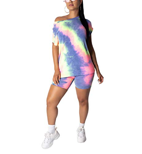 (ECHOINE Womens 2 Piece Shorts Tracksuit Tie Dye Print Short Sleeve Shirt and Shorts Set Outfit Pink L)
