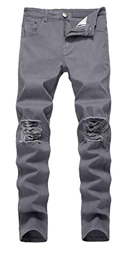 NITAGUT Men's Slim Fit Stretch Destroyed Ripped Skinny Denim Jeans (40Wx32L, Grey)