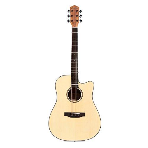 "Donner DAG-1C Beginner Acoustic Guitar Full Size, 41"" Cutaway Guitar Bundle with Gig Bag Tuner Capo Picks Strap String - Image 2"