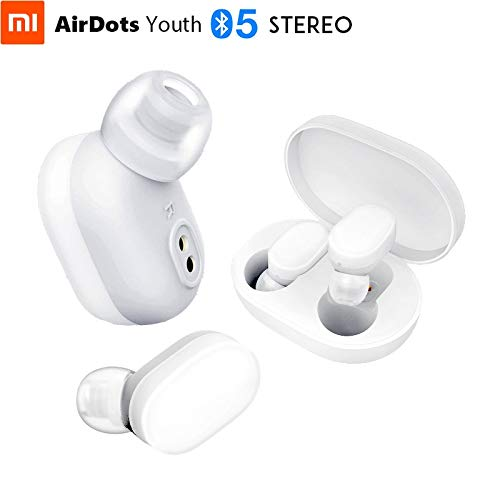 Xiaomi Mi AirDots Wireless Headphones Bluetooth V5.0 True Wireless Stereo TWS Wireless Earphones with Wirelss Charging Case 300mAh Charging Dock (White)