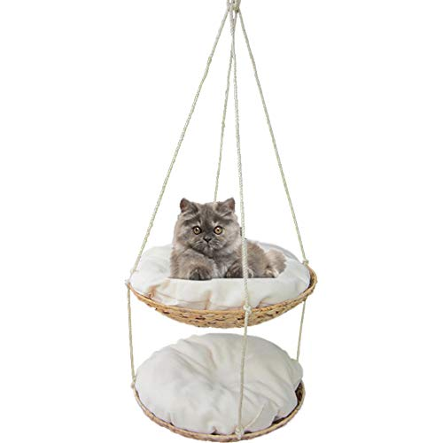 JU FU Cat Hammock Hanging nest Removable and Washable cat Swing cat Tree cat Jumping Table Hanging Bed Hand-Woven Double cat House @@