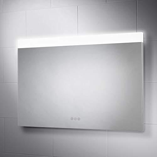 Pebble Grey 36 x 24 inch Bathroom Mirror with LED Illuminated Lights, -