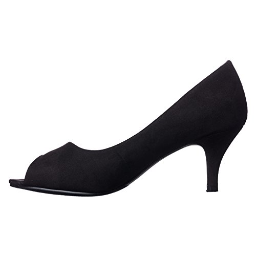 Pumps Riverberry Open Peep Suede Heel Lydia Women's Toe Kitten Black TTqC01