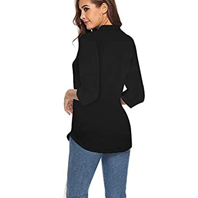 CEASIKERY Women's 3/4 Sleeve V Neck Tops Casual Tunic Blouse Loose Shirt at Women's Clothing store