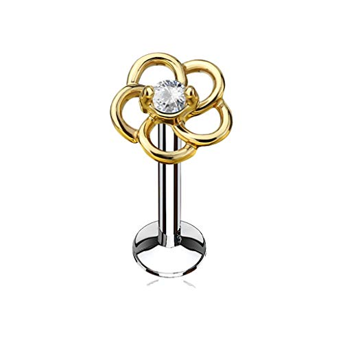 MoBody 16G CZ Centered Hollow Flower Top Labret Piercing Surgical Steel Internally Threaded Monroe Lip Ring Helix Earring (Gold-Tone Clear CZ, 8)