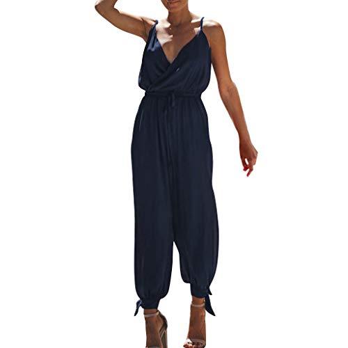 Women Pocket Off Shoulder V Neck Sleeveless Rompers Jumpsuit -