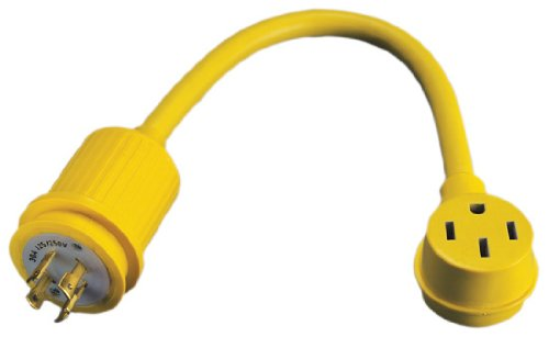 ParkPower 174ARV 1 Foot Generator Adapter Marinco 30 Locking 4-Prong Male Plug to 50 Amp, 125/250V Female Side Yellow