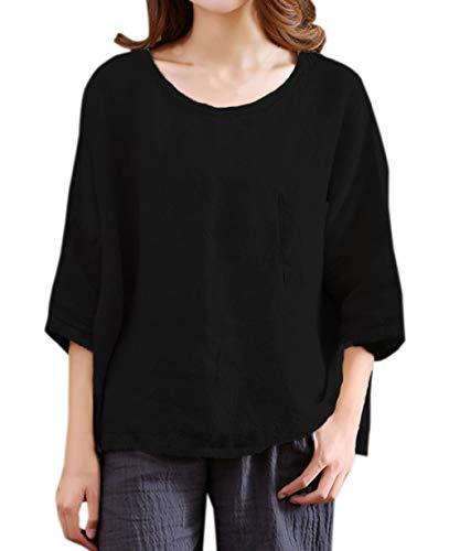 Legendaryman Col Casual Shirts Hauts Noir Lin Femmes Tops 3 Rond Manches Tees Printemps Fashion Shirts Blouse Coton Lache et T Tumblr 4 Automne xI6q7IwXr