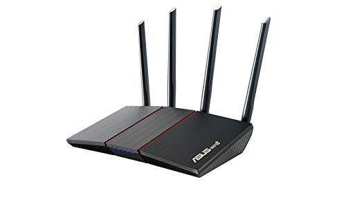 ASUS RT-AX55 AX1800 Dual Band WiFi 6 Gigabit Router, 802.11ax, Lifetime Internet Security, Parental Control, Mesh WiFi Support, MU-MIMO, OFDMA, 4 Gigabit LAN Ports, Beamforming