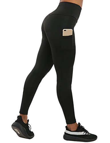 NORMOV High Waisted Two Pockets Yoga Pants Tummy Control Ruched Butt Workout Leggings for Women (M, Out ()