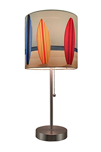 Surfboard Beach Stainless Steel Accent Lamp w/Decorative Shade