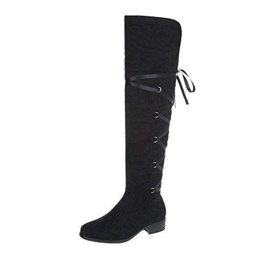 Ital-Design Overknees Damenschuhe Overknees Blockabsatz Blockabsatz Reißverschluss Stiefel Schwarz A-153