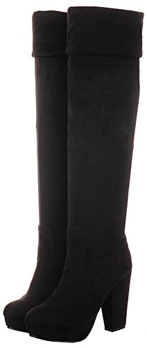Easemax Women's Warm Faux Suede High Block Heel Pull On Above Knee High Platform Booties Black tUOOXlq9s