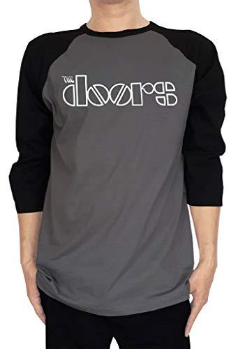 Long Sleeve Doors - EmoBug The Doors Band Logo Men's Raglan Baseball Tees 3/4 Sleeve T-Shirt XX-Large Gravel/Black