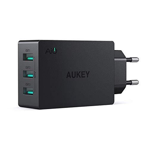 Aukey - Cargador USB 3 Puertos 30 W 6 A con tecnología AiPower - Cargador de Pared para iPhone X / 8/8 Plus, iPad Air/Pro, Samsung, LG, HTC, Nexus, etc. a buen precio