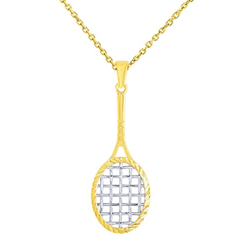 14K Yellow Gold Textured Tennis Racquet Charm Sports Pendant Necklace, 16