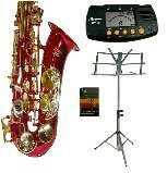 Merano E Flat Red / Gold Alto Saxophone with Zippered Hard Case + Mouth Piece + Metro Tuner + Black Music Stand + 11 Reeds