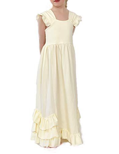 Jennifer and June Flutter Sleeve Princess Dress for Girls. Ivory Ruffle Dress - NO Belt 4T-5T