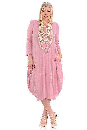 (Pastel by Vivienne Women's Cocoon Midi Dress Plus Size X-Large Dusty)
