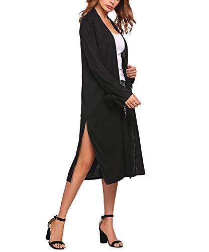 Casual Giovane Manica Lunga Moda Autunno Primaverile Puro Sciolto Maglia Confortevole Cardigan Coulisse Giacca A Women Colore Di Donna Schwarz Giaccone Jacket Outwear 4wxqX6OWvF