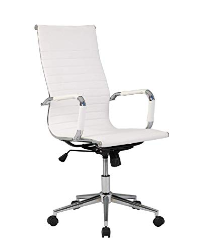 Modern High-Back Black Ribbed Upholstered Leather Executive Office Desk Chair High Back White