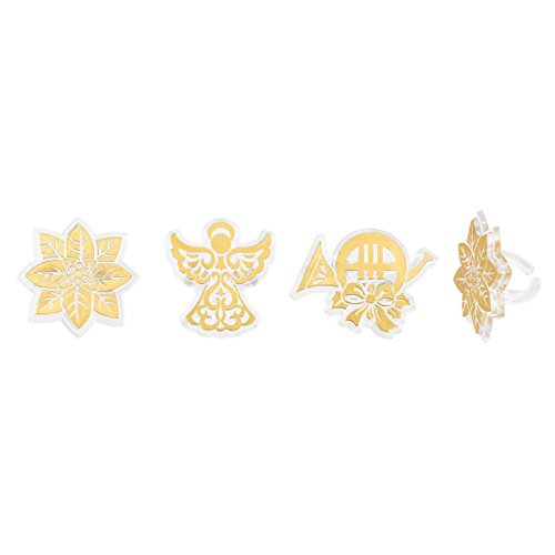 Angelic Gold Foil Assortment Angel Poinsettia French Horn Holiday Cupcake Topper Rings - 24 Pack