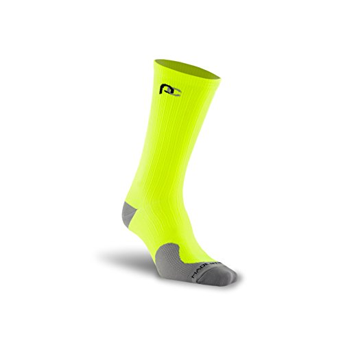 PRO Compression: Racer (Mid-Length, Below-the-Calf) Compression Socks, Neon Yellow, Large/X-Large