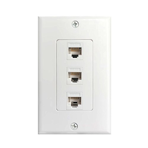 3Port Cat6 Wall Plate and Keystone,Fly Tiger,RJ45 Jack Ethernet Connector,Female to Female,White