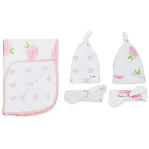 (Ziggy Baby Peony & Heart 5 Piece Blanket, Hat and Headband Collection Pink, White)
