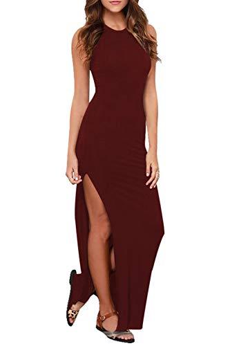 (Womens Sexy Summer Sleeveless Racerback High Slit Bodycon Maxi Dress Ruby S)