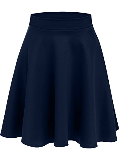 Simlu Women's Midi Skater Skirt Flared and Pleated Midi Skirt For Women - Made In USA Navy Medium