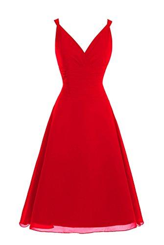 Dasior Longueur Du Genou Féminin Partie De Demoiselle D'honneur V Cou Robe Rouge