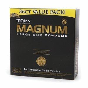Trojan Magnum Lubricated Latex Condoms-36 ct (Quantity of 2)
