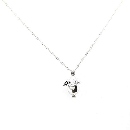 Penguin Pendant Necklace with Genuine Pearl Inside Pearl Oyster Charm Necklace