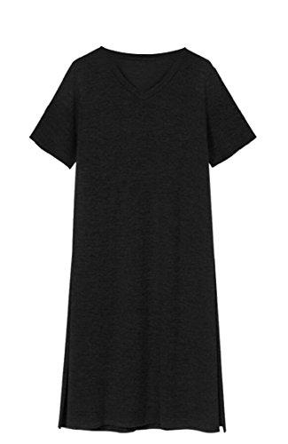 Summer Dress Short Sleeve Maxi V Split Tshirt Neck Black Women Jaycargogo 5zw4x