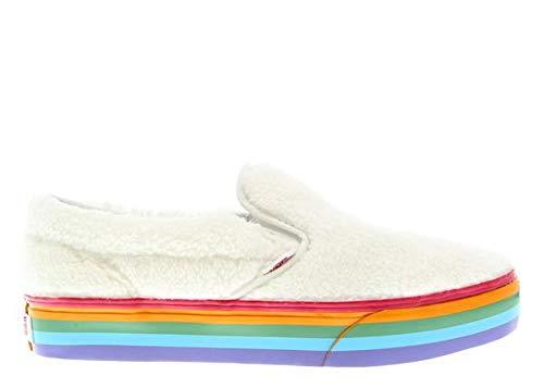 Vans Kids Classic Slip-On Platform Shearling Rainbow True White
