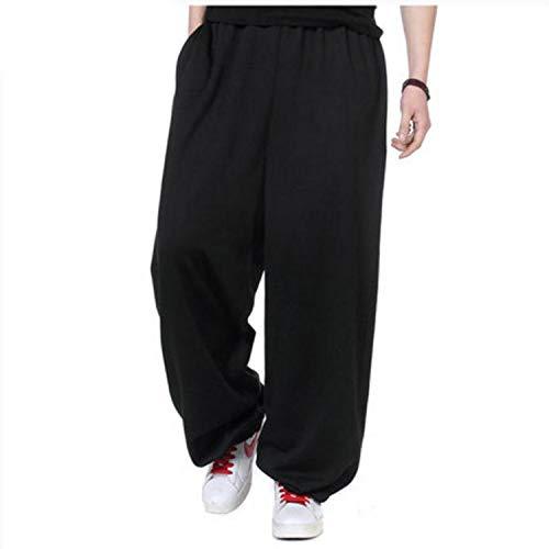 (Avory-Fine Faddish Autumn Winter Hip Hop Joggers Men Sweatpants Warm Fleece Loose Baggy Pants Harem Trousers Plus Size L-4XL for Weight 60-150KG,013 Black Thin,L)