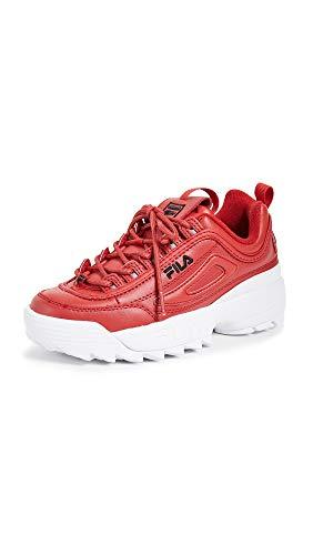 (Fila Women's Disruptor II Premium Sneakers, Fila Red/Black/White, 5 M US)