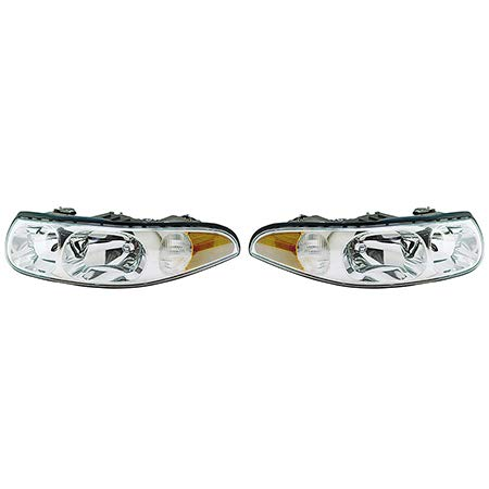 Fits 2000-2005 Buick Lesabre Pair Head Lights Driver and Passenger Side w/cornering/marker lamp; Custom; w/fluted high beam surface GM2502209 GM2503209