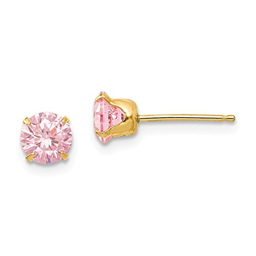 ICE CARATS 14kt Yellow Gold 5mm Pink Cubic Zirconia Cz Post Stud Earrings Fine Jewelry Ideal Gifts For Women Gift Set From Heart -