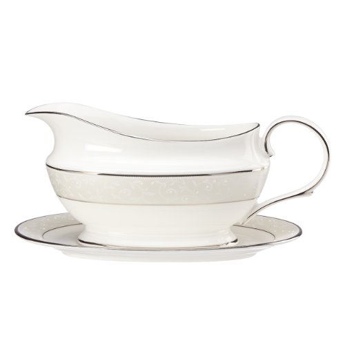 China Dinnerware Gravy (Lenox Opal Innocence Sauce Boat and Stand, White)