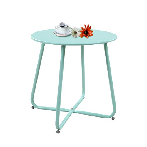 Grand Patio Steel Patio Coffee Table, Weather Resistant Outdoor Side Table, Small Round End Table, Mint Green