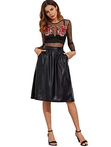 JOAUR Women's PU Leather Midi Skirt Pleated High Waist Skate Skirt with Pockets by JOAUR (Image #3)
