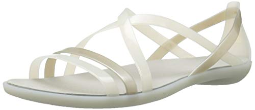 Crocs Women's Isabella Strappy Sandal W Flat, Oyster/Pearl White, 8 M US